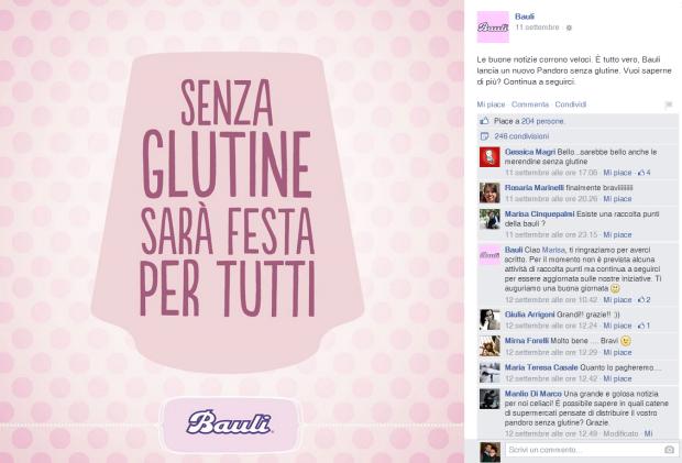 Pandoro senza glutine Bauli: il lancio su Facebook, 11 settembre 2014.
