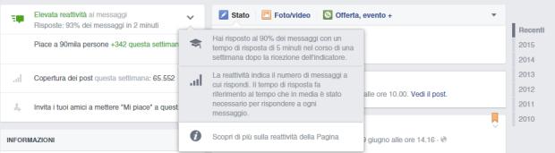 facebook reattività pagina esempio