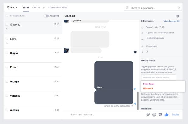 Anteprima nuova gestione Messaggi Facebook Parole Chiave
