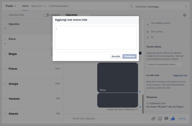 Anteprima nuova gestione Messaggi Facebook Note